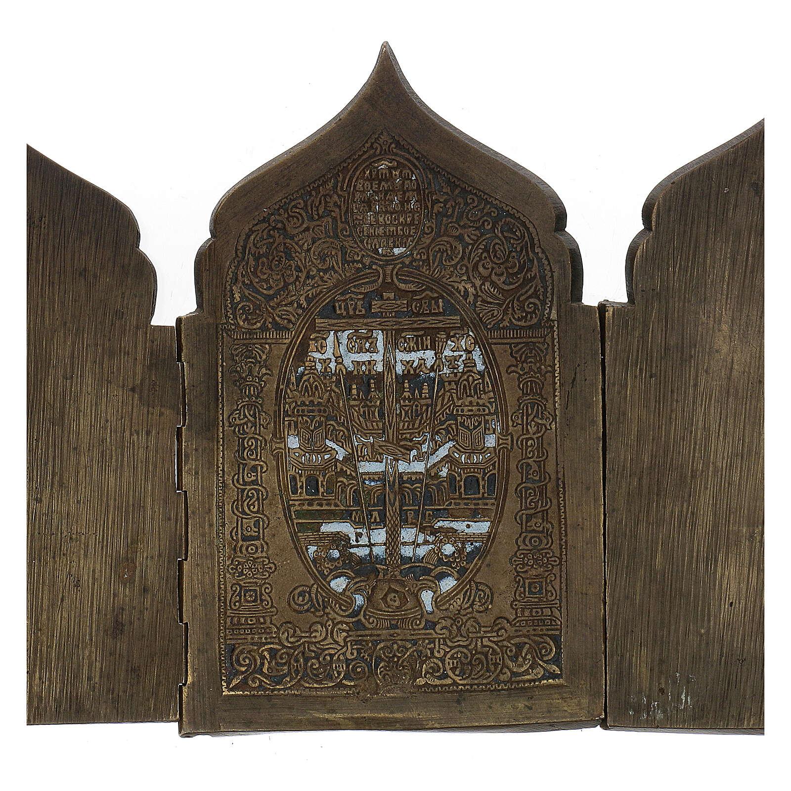 Polittico da viaggio antico russo con smalti XIX secolo 40x18 cm 4