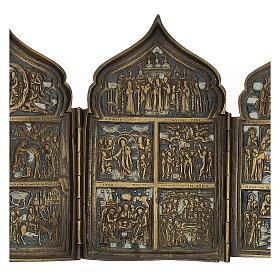 Polittico da viaggio antico russo con smalti XIX secolo 40x18 cm s4