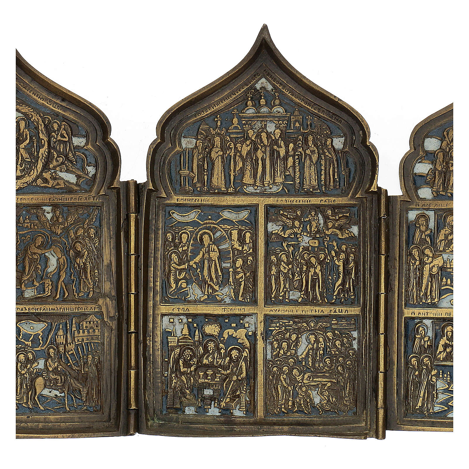 Antique Russian polyptych with enamel for travel XIX century, 40x18 cm 4