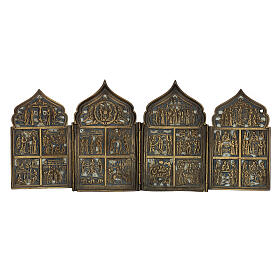 Antique Russian polyptych with enamel for travel XIX century, 40x18 cm s1