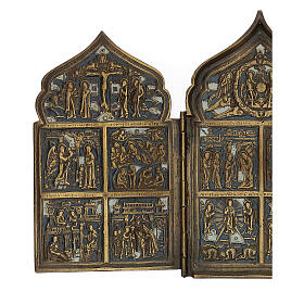 Antique Russian polyptych with enamel for travel XIX century, 40x18 cm s2