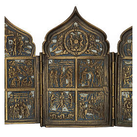 Antique Russian polyptych with enamel for travel XIX century, 40x18 cm s3