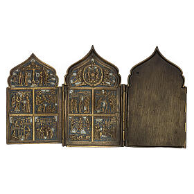 Antique Russian polyptych with enamel for travel XIX century, 40x18 cm s8
