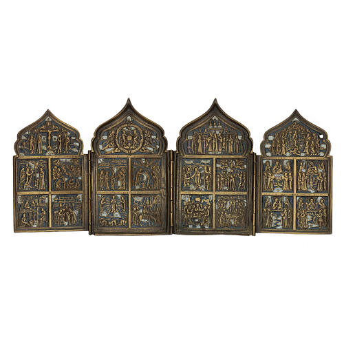 Antique Russian polyptych with enamel for travel XIX century, 40x18 cm 1