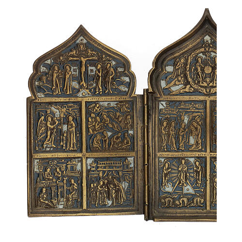 Antique Russian polyptych with enamel for travel XIX century, 40x18 cm 2