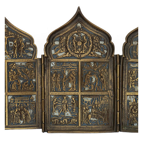 Antique Russian polyptych with enamel for travel XIX century, 40x18 cm 3