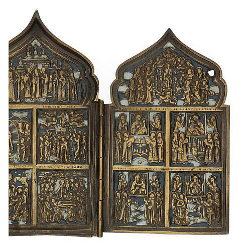 Antique Russian polyptych with enamel for travel XIX century, 40x18 cm 5