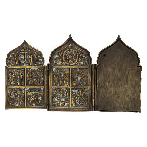 Antique Russian polyptych with enamel for travel XIX century, 40x18 cm 8