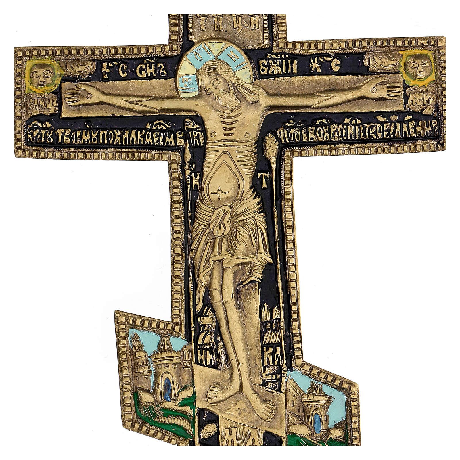 Crucifix orthodoxe bronze ancien russe et émail XIX siècle 35x17 cm 4