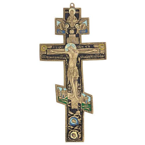 Crucifix orthodoxe bronze ancien russe et émail XIX siècle 35x17 cm 1
