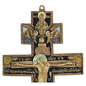 Crocifisso ortodosso bronzo antico russo e smalti XIX secolo 35x17 cm s3