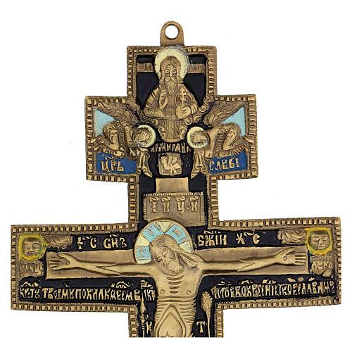 Crocifisso ortodosso bronzo antico russo e smalti XIX secolo 35x17 cm 3