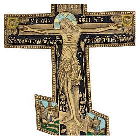 Antique Russian orthodox brass and enamel crucifix, XIX century, 35x17 cm s2