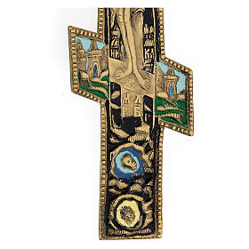 Antique Russian orthodox brass and enamel crucifix, XIX century, 35x17 cm s4