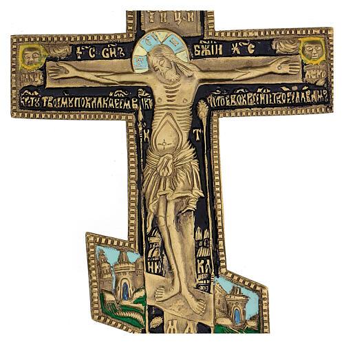Antique Russian orthodox brass and enamel crucifix, XIX century, 35x17 cm 2