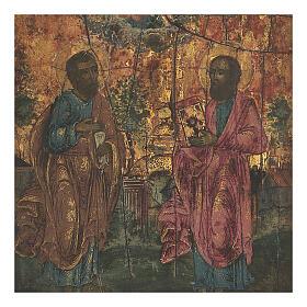 Icona antica russa San Pietro e Paolo inizio XIX secolo 20x18 cm s2