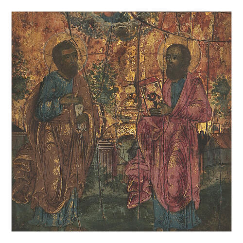 Antique Russian icon St Peter and Paul, beginning XIX century 20x18 cm 2