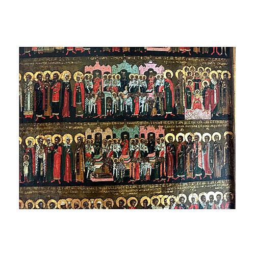 Icona Russia Antica Menologio Giugno Ortodosso metà XIX sec 30x25 cm 4