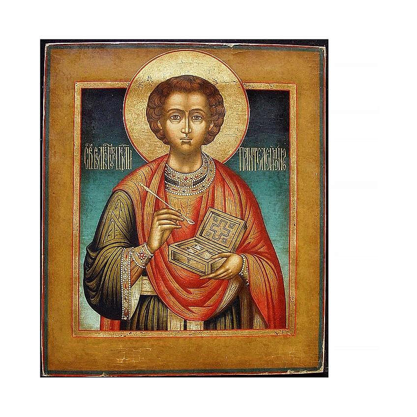 Icona Russia Antica San Pantaleone metà XIX sec 30x28 cm 4
