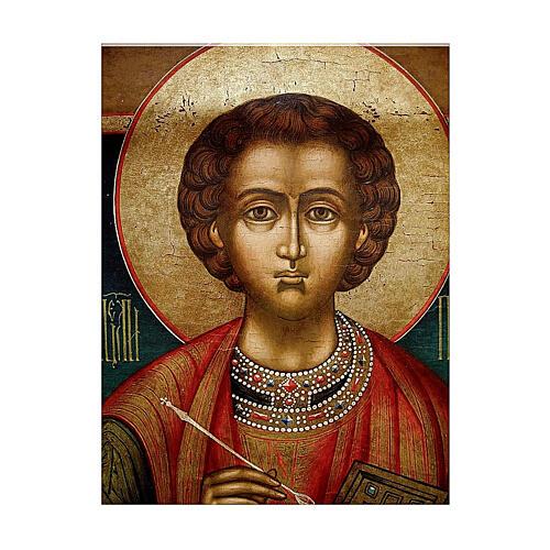 Icona Russia Antica San Pantaleone metà XIX sec 30x28 cm 2