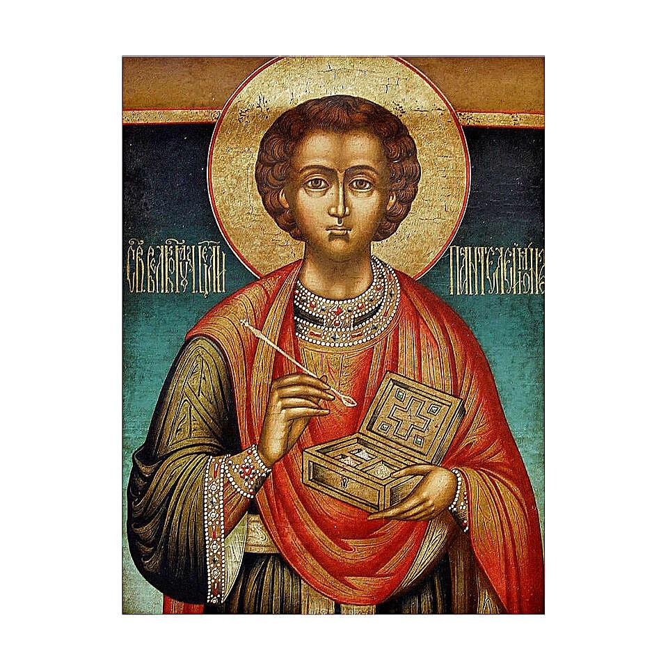 Antique Russian icon, St Pantaleon half XIX century 30x28 cm 4