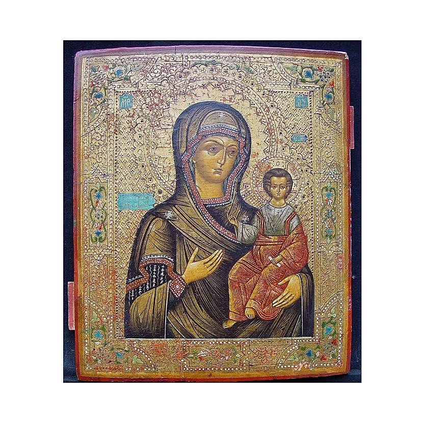 Icona Russia Antica Madre Dio Smolensk metà XIX sec 30x25 cm 4