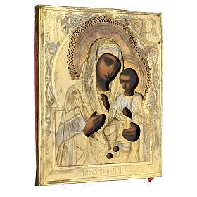 Icône ancienne Ukraine Mère de Dieu de Iver riza fin XIX siècle 27x22 cm s5