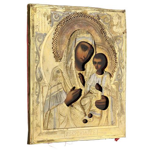 Icône ancienne Ukraine Mère de Dieu de Iver riza fin XIX siècle 27x22 cm 5