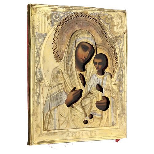 Icona Ucraina Antica Madonna Iverskaja Riza fine XIX sec 27x22 cm 5
