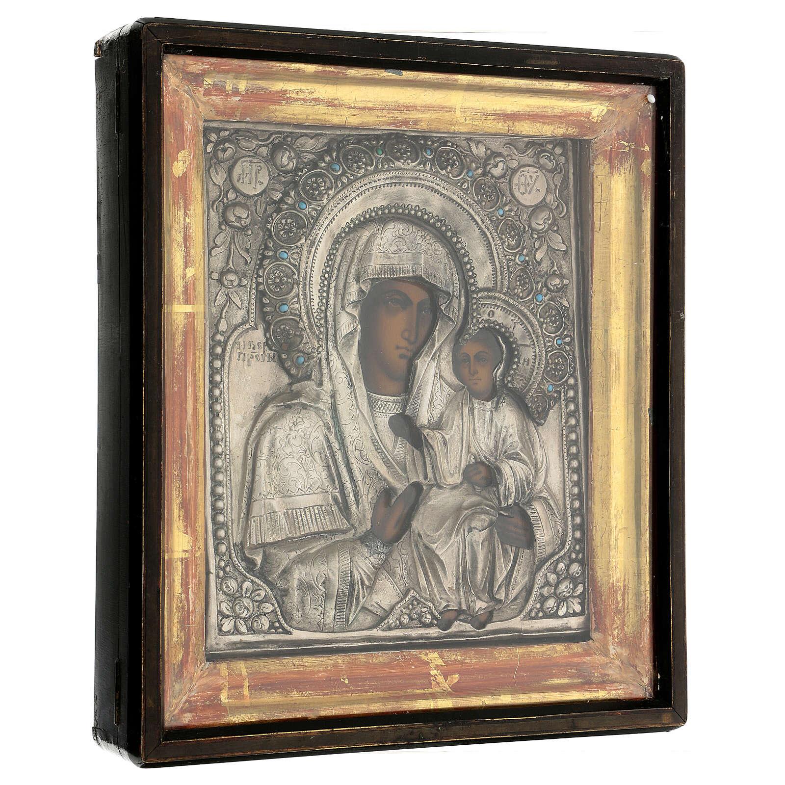 Icône russe ancienne Mère de Dieu de Iver avec verre moitié XIX siècle 25x20 cm 4