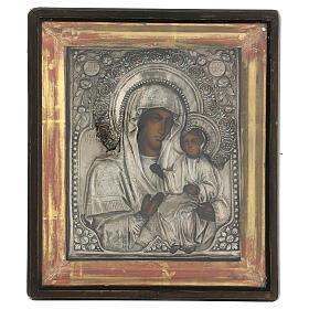 Icône russe ancienne Mère de Dieu de Iver avec verre moitié XIX siècle 25x20 cm s1