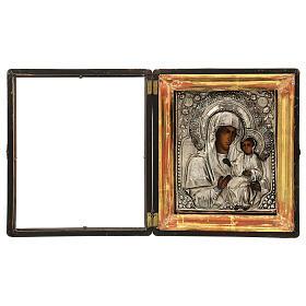 Icône russe ancienne Mère de Dieu de Iver avec verre moitié XIX siècle 25x20 cm s2