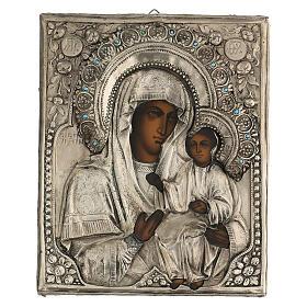 Icône russe ancienne Mère de Dieu de Iver avec verre moitié XIX siècle 25x20 cm s4