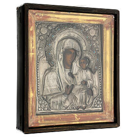 Icône russe ancienne Mère de Dieu de Iver avec verre moitié XIX siècle 25x20 cm s6