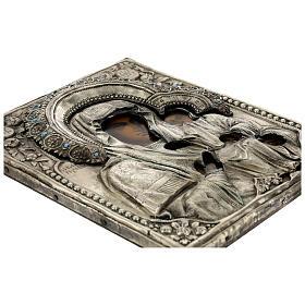 Icône russe ancienne Mère de Dieu de Iver avec verre moitié XIX siècle 25x20 cm s7