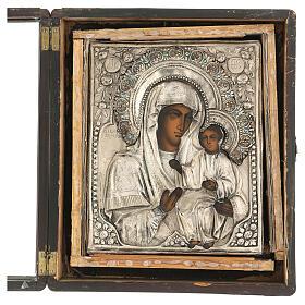 Icône russe ancienne Mère de Dieu de Iver avec verre moitié XIX siècle 25x20 cm s8