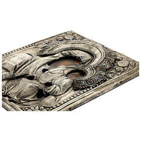 Icône russe ancienne Mère de Dieu de Iver avec verre moitié XIX siècle 25x20 cm s9