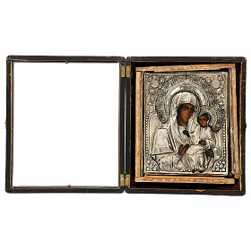 Icône russe ancienne Mère de Dieu de Iver avec verre moitié XIX siècle 25x20 cm s11