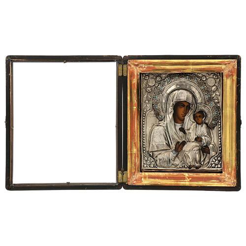 Icône russe ancienne Mère de Dieu de Iver avec verre moitié XIX siècle 25x20 cm 2