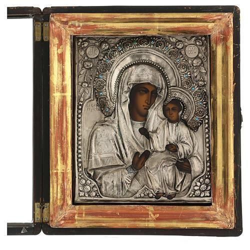 Icône russe ancienne Mère de Dieu de Iver avec verre moitié XIX siècle 25x20 cm 3