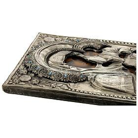 Icona Russa Antica Madre Dio Iver Teka vetro metà 800 25x20 cm s5