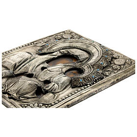 Icona Russa Antica Madre Dio Iver Teka vetro metà 800 25x20 cm s9