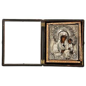 Icona Russa Antica Madre Dio Iver Teka vetro metà 800 25x20 cm s11