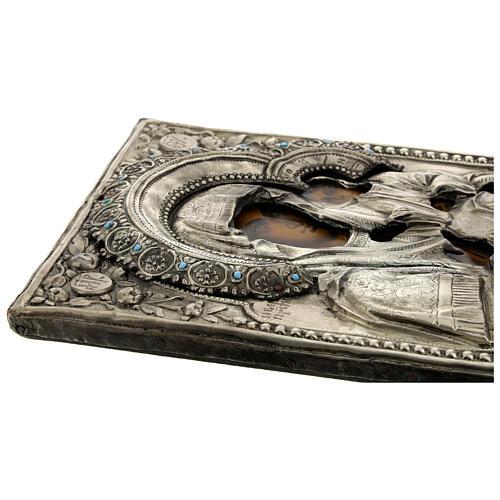 Icona Russa Antica Madre Dio Iver Teka vetro metà 800 25x20 cm 5