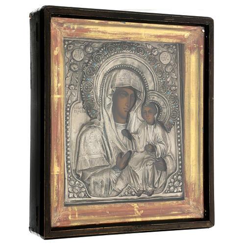 Icona Russa Antica Madre Dio Iver Teka vetro metà 800 25x20 cm 6