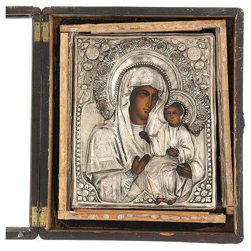 Icona Russa Antica Madre Dio Iver Teka vetro metà 800 25x20 cm 8