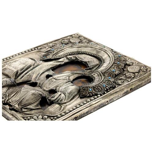 Icona Russa Antica Madre Dio Iver Teka vetro metà 800 25x20 cm 9