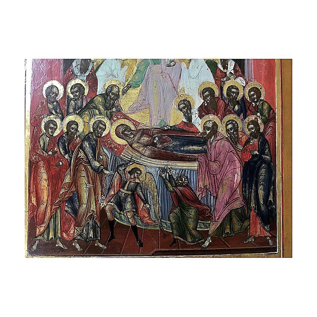 Icône russe ancienne Dormition de la Sainte Vierge XIX siècle 32x27 cm 4