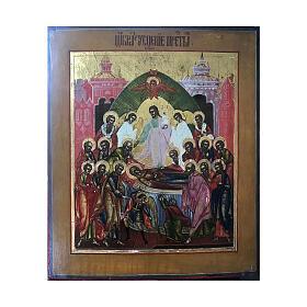 Icône russe ancienne Dormition de la Sainte Vierge XIX siècle 32x27 cm s1