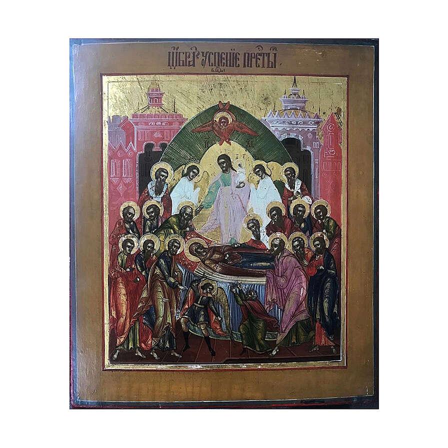 Icona Russia Antica Dormizione della Vergine XIX sec 32x27 cm 4
